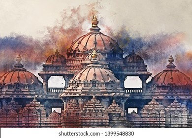 Facade of Akshardham or Swaminarayan temple complex in Delhi, India. The largest Hindu mandir in the world. Illustration in watercolour style