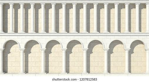 The facade of an antique building. Antique colonnade. 3D Illustration