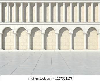The facade of an antique building. Antique colonnade. Facade of the coliseum. 3D Illustration