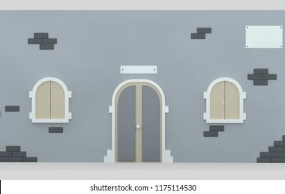 Facade door and Windows. 3d illustration
