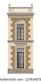 The facade of the house in the classical style of beige brick with windows. 3d rendering.