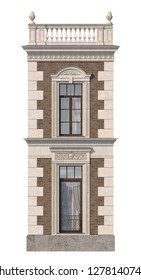 The facade of the house in the classical style of brown brick with windows. 3d rendering.