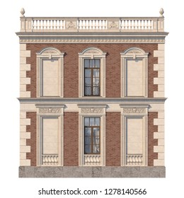 The facade of the house in the classical style of red brick with windows. 3d rendering.
