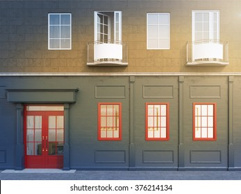 A facade of a house with a small cafe on the ground floor. Three windows to the right of a red door. Front view. Filter. Concept of a city cafe. 3D rendering.