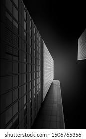 Facade of a modern office building in Frankfurt, Germany