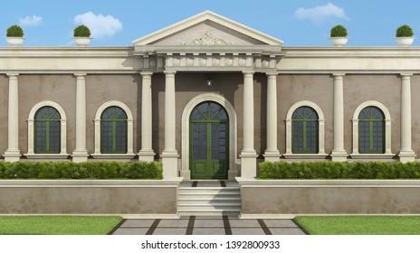 Facade with neoclassical villa with luxury garden garden - 3d rendering