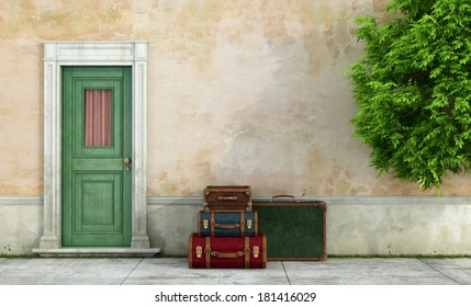 Facade of an old house with  vintage suitcases near the door - rendering