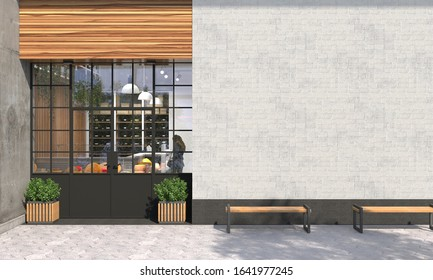 The facade of a store or cafe with an entrance group and blank wall in front view. Free space for signage, advertising banners and posters. Exterior and architecture design. 3D render
