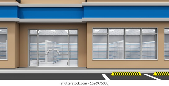 The facade of the store, a glass door and a window. Inside the shop window. 3d illustration