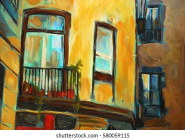 facade and windows of an old house in barcelona, painting, illustration