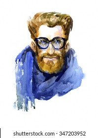 face attractive, fashionable man with a beard in watercolor