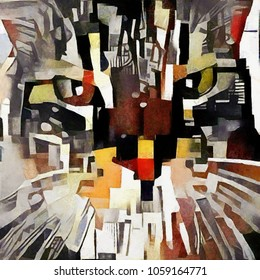 The face of a cat. Abstraction in the style of cubism. The picture is made by oil on canvas with elements of pastel painting.