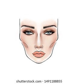 Face chart for eye's makeup artist template. Portrait of a beautiful girl