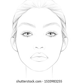Face chart for make up artist / woman face /line art/ beauty illustration/ fashion