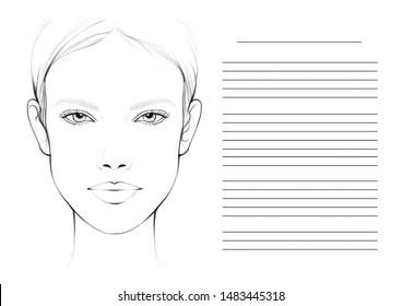 Face chart for makeup artist