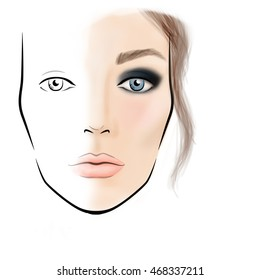 Face chart Makeup Artist Blank. Template. Illustration.