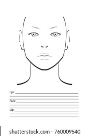 men face chart makeup artist blank stock vector royalty free