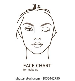 Face chart  template for make up.   Line style illustration.