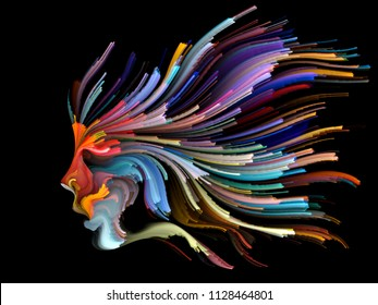 Face of Color series. Abstract arrangement of human profile and colorful lines of moving paint suitable for projects on creativity, design, internal world, human nature and artistic soul