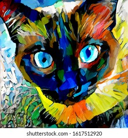 Face cute cat. The artist used rough brushstrokes in the style of impressionism. The painting is executed in oil on canvas with elements of pastel painting.