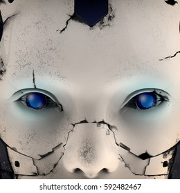 Face of a cyborg with blue eyes. 3d illustration.