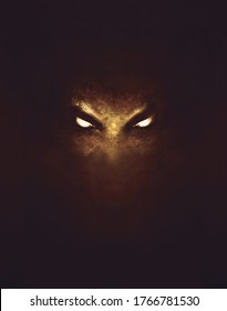 the face of a demon with glowing eyes, in the dark - a painting