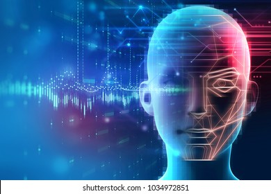 Face detection and recognition of digital human 3d illustration.Concept of 