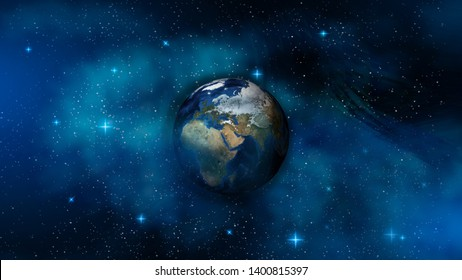 Face of the Earth in outer space