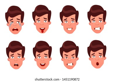 Face expressions of a man. Different male emotions set. Attractive cartoon character. illustration isolated on white background