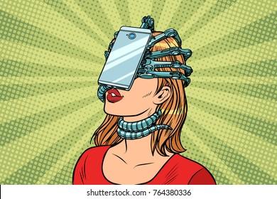 face id smartphone parasite, woman and Internet addiction. Pop art retro  vintage illustrations