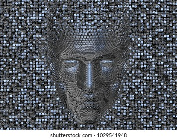 Face made of shiny metal cubes. Looking Down.3d render
