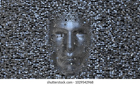 Face made of shiny metal cubes. Some floating cubes in Front of face. 3d render