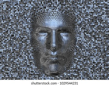 Face made of shiny metal cubes. Looking straight ahead.3d render