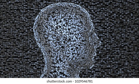 Face made of shiny metal cubes.Side View, cubic background. 3d render. Low density thin cube dispersal