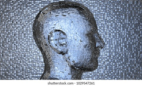 Face made of shiny metal cubes.Side View, cubic background. 3d render. High density thick even cube dispersal