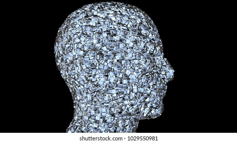 Face made of shiny metal cubes.Side View black background.  Chaotic , random cube dispersal. 3d render