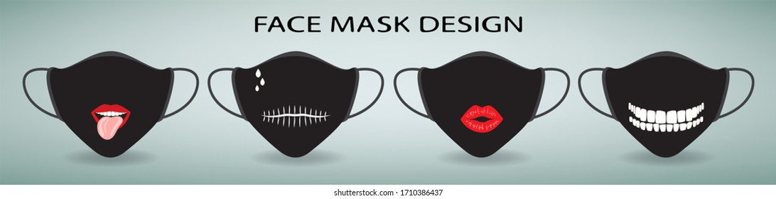 Face mask design. Set of 4 medical masks with print. Lips with tongue, teeth, mouth stitched on a black background. Protective measures from coronavirus and flu. Modern person accessories