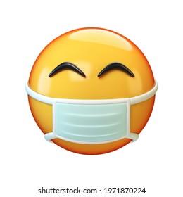 Face mask emoji on white background, 3d rendering