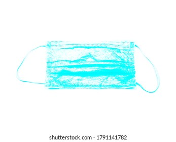 Face mask illustration in blue, on a white background, useful for blog posts, articles, posts, marketing purposes.