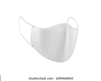 Face Mask mockup front half side view isolated on white, 3d rendering