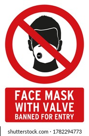 face mask with valve banned for entry poster. This poster is in english language.