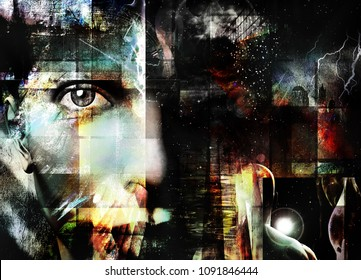 Face peers out from abstract. 3D rendering