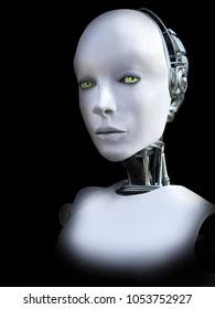 Face portrait of a female robot, 3D rendering. Black background.