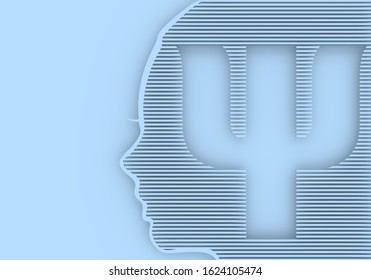 Face profile view. Elegant silhouette of a female head. Beautiful woman portrait. Thin line style. Psi symbol as the beginning of a psychology word. 3D rendering