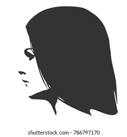Face profile view. Elegant silhouette of a female head. Long hair. Monochrome gamma.