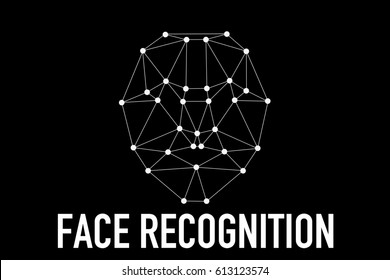 Face recognition on polygonal grid is constructed by the points. Biometric verification illustration concept