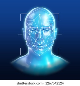 Face Recognition Technology / 3D illustration
