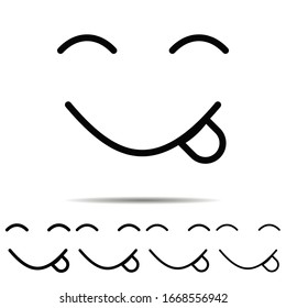 Face, savoring, food different shapes icon. Simple thin line, outline of emotion icons for ui and ux, website or mobile application on white background
