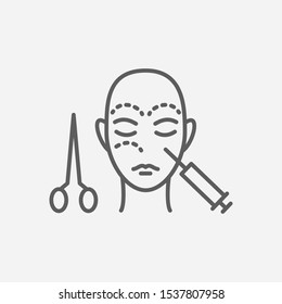 Face surgery icon line symbol. Isolated illustration of icon sign concept for your web site mobile app logo UI design.