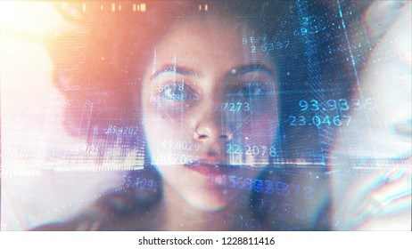 Face With Technological Numbers